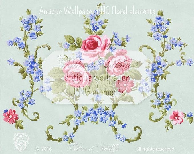Vintage PINK Roses Transparent background PNG Antique Wallpaper Elements Blue Floral Sprays  Download