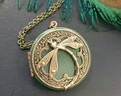 Dragonfly Locket Pendant Necklace - Vintage Style Antique brass Ornately Decorated Pendant Jewelry