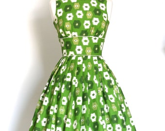 Green and White Abstract Cotton Tiffany Prom Dress