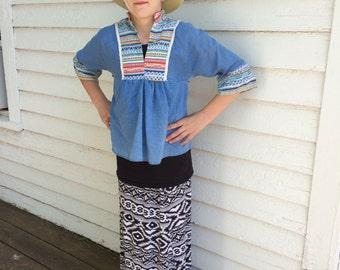 70s Girls Hippie Top Boho Blue Peasant Blouse Vintage 9