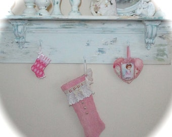 Pink Christmas Stocking Shabby Chic Vintage Chenille Victorian Cottage Baby Girl Quiltsy Handmade