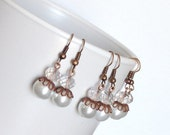 Copper and White Pearls Bridesmaids Earrings
