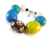 Colorful Chunky Beaded Bracelet Easter Egg Design, Bead Bracelet Resin Bracelet Blue and Yellow, Chocolate Egg Bracelet Brown Easter Jewelry