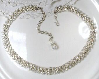 Art Deco Necklace, Pave Rhinestone Chevron Leaf Silver Link Flapper Bridal Statement Necklace, Vintage Great Gatsby 1920s Wedding Jewelry