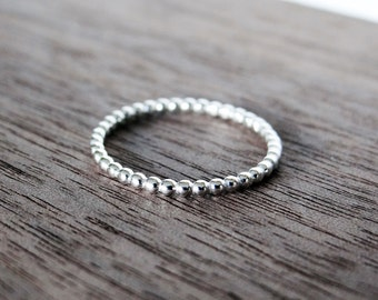 Pearl Wire Stacking Ring in Sterling Silver, Midi Ring, Thumb Ring