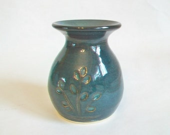 Small  Blue/Green, Deep Teal Vase - with a Pressed Design - Handmade on the Potters Wheel