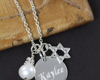 Private Listing for Tara, Bat Mitzvah Gift Idea, Star of David Necklace Engraved Name Pendant 925 Sterling Silver Jewelry