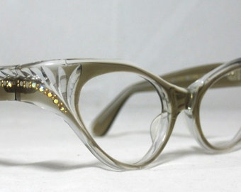 Vintage 60s Taupe Honey Cat Eye Eyeglasses. AB Rhinestones. Swank Frame France