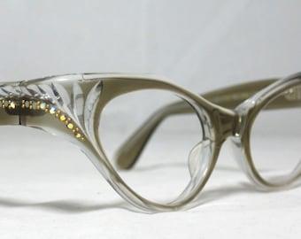 Vintage 60s Taupe Honey Cat Eye Eyeglasses. AB Rhinestones. Swank Frame France