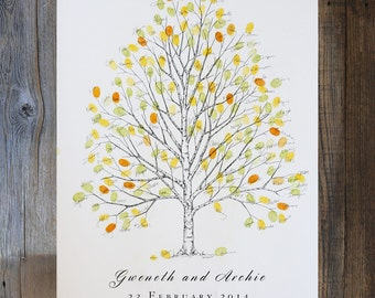 Wedding Guest Book Alternative, Fingerprint Tree, Original Hand-drawn Large Birch Design (ink pads sold separately)