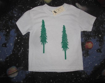 Child Tree Shirt, Douglas Fir Trees, XS Extra Small, science ecology forest earth first treehugger, environment hippy, nature, forest, child