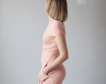 Ivory pink bamboo knit tie front pocket dress - womens knit midi dress striped hem