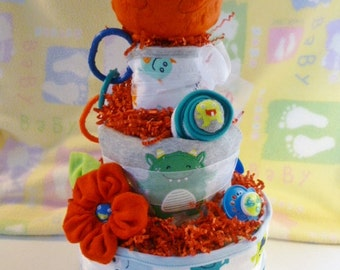 Mommy's Little Monster Diaper Cake..Bath Towel..Monster Bib..Monster Onesie..Washcloth Flower..Lots of Baby Items..25% OFF..Ready to Ship :)