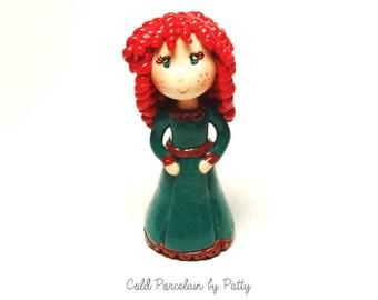 On Sale Cold Porcelain Clay Princess Merida Figurine, Merida Cake Topper, Cupcake Topper, Princess Birthday Cake Topper, Merida Ornament