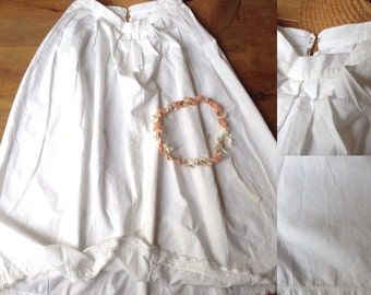 Antique French Victorian cotton petticoat, skirt with lace trim waist size small