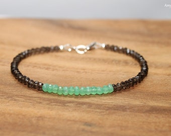 Chrysoprase & Smokey Quartz Bracelet, Chrysoprase Jewelry, Green Brown Beaded, Layering, Minimalist, Gemstone Jewelry