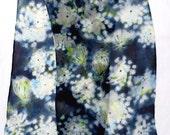 silk scarf long floral hand painted chiffon Queen Annes Lace unique black white wearable art women wild flower