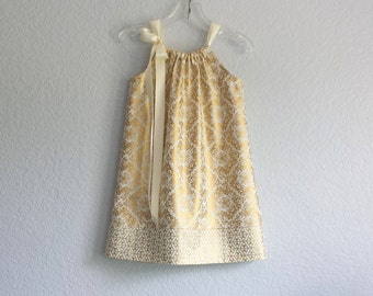 New! Girls Metallic Gold & Cream Damask Dress - Metallic Gold Pillowcase Dress - Girls Gold Party Dress - Size 12m, 18m, 2T, 3T, 4T, 5 or 6