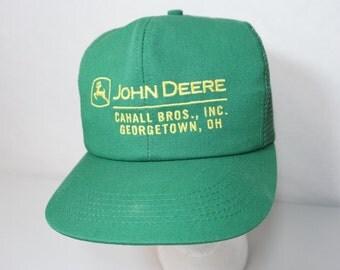 Vintage John Deere Green Mesh Snap Back Hat Cahall Georgetown Ohio Snapback