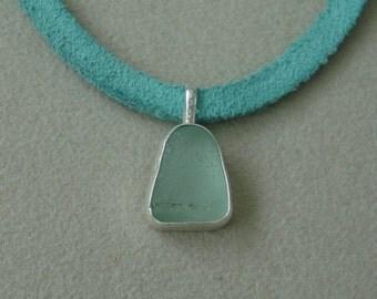 Seafoam Sea Glass and Sterling Silver Pendant