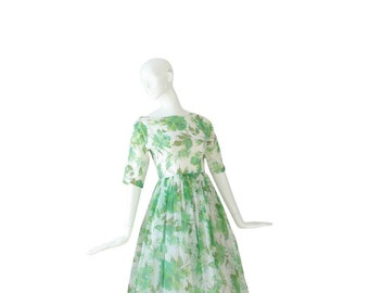 1950s Floral Dress • 50s Party Dress • Cocktail Evening • S Small