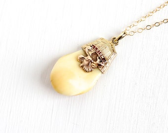Vintage 10k Yellow Gold Loyal Order of Moose Tooth Pendant - Antique 1920s Art Deco Unusual LOOM Enamel Fraternal Charm Necklace