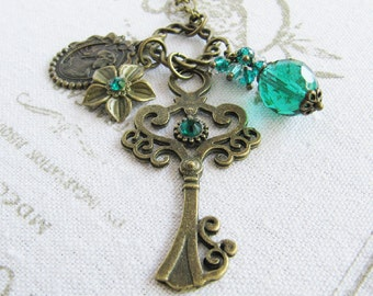 Teal necklace, crystal charm necklace, bronze vintage style jewelry, key necklace, gift for her, women, Europe