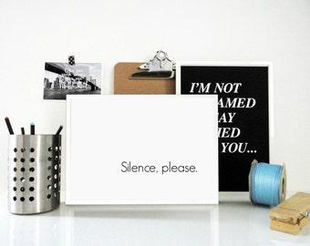 Poster Silence Please in White - Typography Minimal Poster - Wall Sign - Calm, Relax Art Print - Minimal Modern Wall Art  - Art Gift