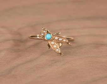 Victorian Turquoise and Seed Pearl Fly Bug 14k Yellow Gold Conversion Ring