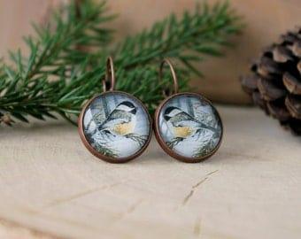 Bird Earrings, Chickadee  Earrings, Antique Copper, Glass Cabochon, Bird Jewelry