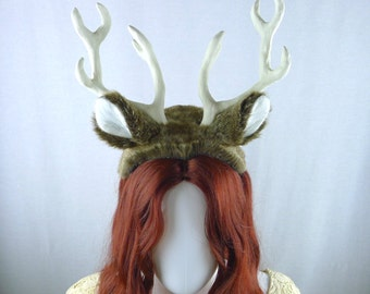 White-tailed Deer Costume - Antler Headpiece and Tail