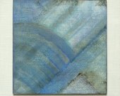abstract wood paintings, original mixed media, small format painting, blue wood art