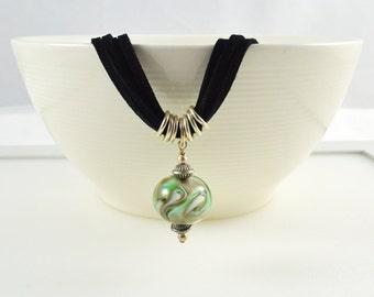 Unique Green Pendant, Green Glass Pendant, Sage Green, Long Green Necklace, Green Glass Pendant, Australian Jewellery, FREE SHIPPING