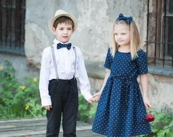 Blue girl dress - Linen girl dress - Polka dot toddler girl dress - Navy blue baby girl dress - Summer girl dress - Flower girl dress
