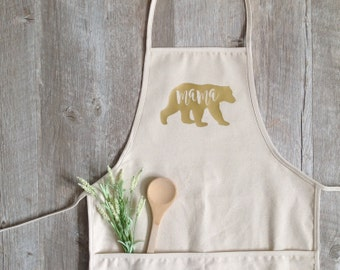Apron - Mother's Day Apron Mama Bear Apron Baking Cooking Baker Chef Cotton Canvas Full Apron Kitchen Gift Farmhouse Mothers Day Gift
