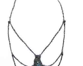 apatite bat oxidized silver crochet necklace