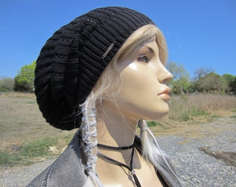 Black Lace Dress Hat Women's Knit Beanie Bohemian Clothes Slouchy Beanies Black Airy rib Knitted Tam A1986