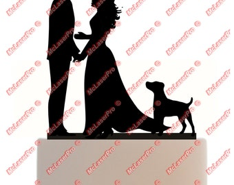 Custom Wedding Cake Topper of a Couple with a long dress, a dog silhouette, choice of color