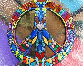 "CUSTOM PEACE Sign - 16"" Round - Custom Order in Your Colors - Glass Gems, Beads, Ceramic, Glitter Tile, Turquoise Howlite Stones - OOAK"