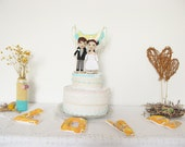 Wedding Cake Topper, Crochet Bride and Groom, Portrait Cake Topper, Personalized Wedding Doll