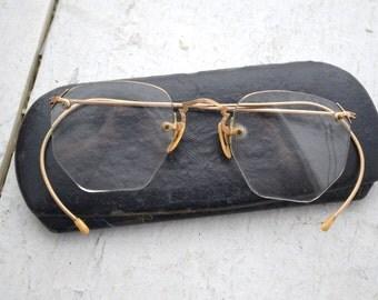 1940s 12K Gold Filled Eyeglasses and Case