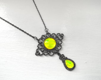 Victorian Necklace, Handmade Glass Opal Neon Yellow, Filigree Art Nouveau Pendant, Renaissance Necklace, Color-Shift