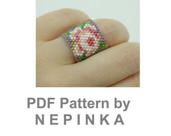Brick stitch ring pattern. Peyote ring pattern.Beadwork ring.Rose ring.Wide ring.Floral.Romantic ring.Mothers day.DIY ring.Pastel ring.