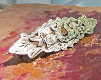 Antique Victorian Chased Sterling Silver Sweetheart Pin With Ivy and Horseshoe