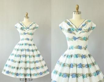 Vintage 50s Dress/ 1950s Cotton Dress/ R&K Originals Blue and Green Floral Border Print Cotton Dress w/ Bow S