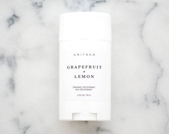 GRAPEFRUIT + LEMON - Organic Deodorant, Natural Deodorant, Deodorizing Essential Oil Blend, Extra Strength, Aluminum Free