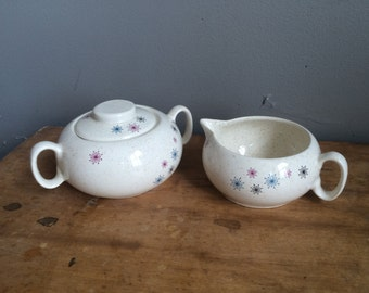 Vintage W. S. George Celeste Creamer and Covered Sugar Dish Mid Century Atomic Starburst Design Space age