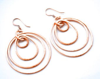 Layered Copper Hoops . Earrings