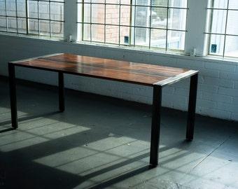 Walnut Desk or Dining Table, Steel Frame, Custom, 'Zeeva' Series
