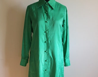 Vintage 1970's Green Silk Shirt Dress by I.Magnin - Size US 6